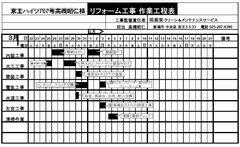 リフォーム工程表