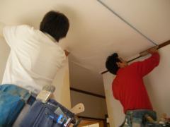 天井に、二人で一緒にビニールクロスを貼っています